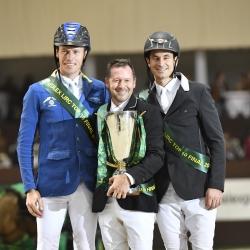 Christian Ahlmann (left), Eric Lamaze and Steve Guerdat