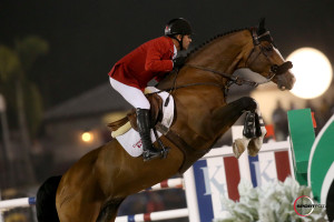 Coco Bongo, owned by Artisan Farms LLC, made his Nations' Cup debut under Canada's Eric Lamaze in Friday night's $100,000 Nations' Cup in Wellington, Florida.                                                     Photo by Sportfot