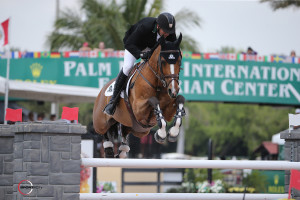 Eric Lamaze, riding Fine Lady 5 for owners Andy and Carlene Ziegler of Artisan Farms LLC, scored his fifth Ruby et Violette WEF Challenge Cup victory so far this season at the 2015 Winter Equestrian Festival in Wellington, FL.  Photo by Sportfot