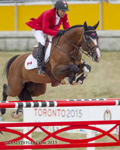 Eric Lamaze of Schomberg, ON, placed 22nd individually in his fifth consecutive Pan American Games riding Coco Bongo, owned by Artisan Farms LLC.   Photo by Cealy Tetley