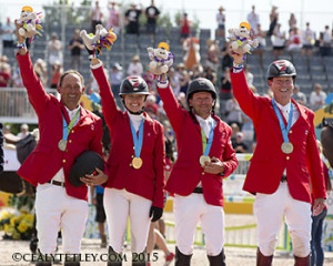 The Canadian Show Jumping Team of Yann Candele, Tiffany Foster, Eric Lamaze and Ian Millar won the gold medal at the TORONTO 2015 Pan American Games. Photo © Cealy Tetley
