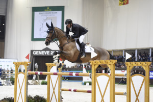 2008 Canadian Olympic Champion Eric Lamaze placed third riding Fine Lady 5 for owner Artisan Farms in the Rolex Grand Prix held December 13 in Geneva, Switzerland, as part of the Rolex Grand Slam of Show Jumping.  Photo by Kit Houghton/Rolex