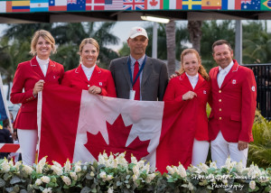 The Canadian Show Jumping Team, from left to right: Tiffany Foster, Elizabeth Gingras, chef d'equipe Mark Laskin, Kara Chad and Eric Lamaze.