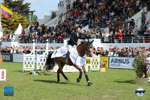 Eric Lamaze and Fine Lady 5, owned by Artisan Farms and Torrey Pines Stable, take their victory gallop to the delight of the French fans. Photo by PSV Jean Morel