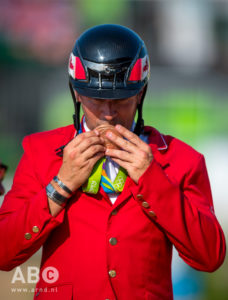 An emotional Eric Lamaze of Schomberg, ON, added an individual bronze to the individual gold and team silver medals won at the 2008 Beijing Olympics.  Photo by Arnd Bronkhorst Photography