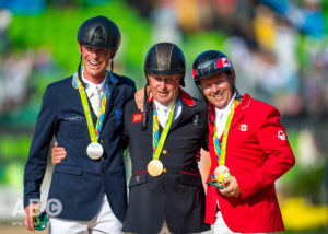 Peder Fredricson of Sweden won individual silver, Great Britain's Nick Skelton secured the gold, and Eric Lamaze took the individual bronze medal for Canada.  Photo by Arnd Bronkhorst Photography