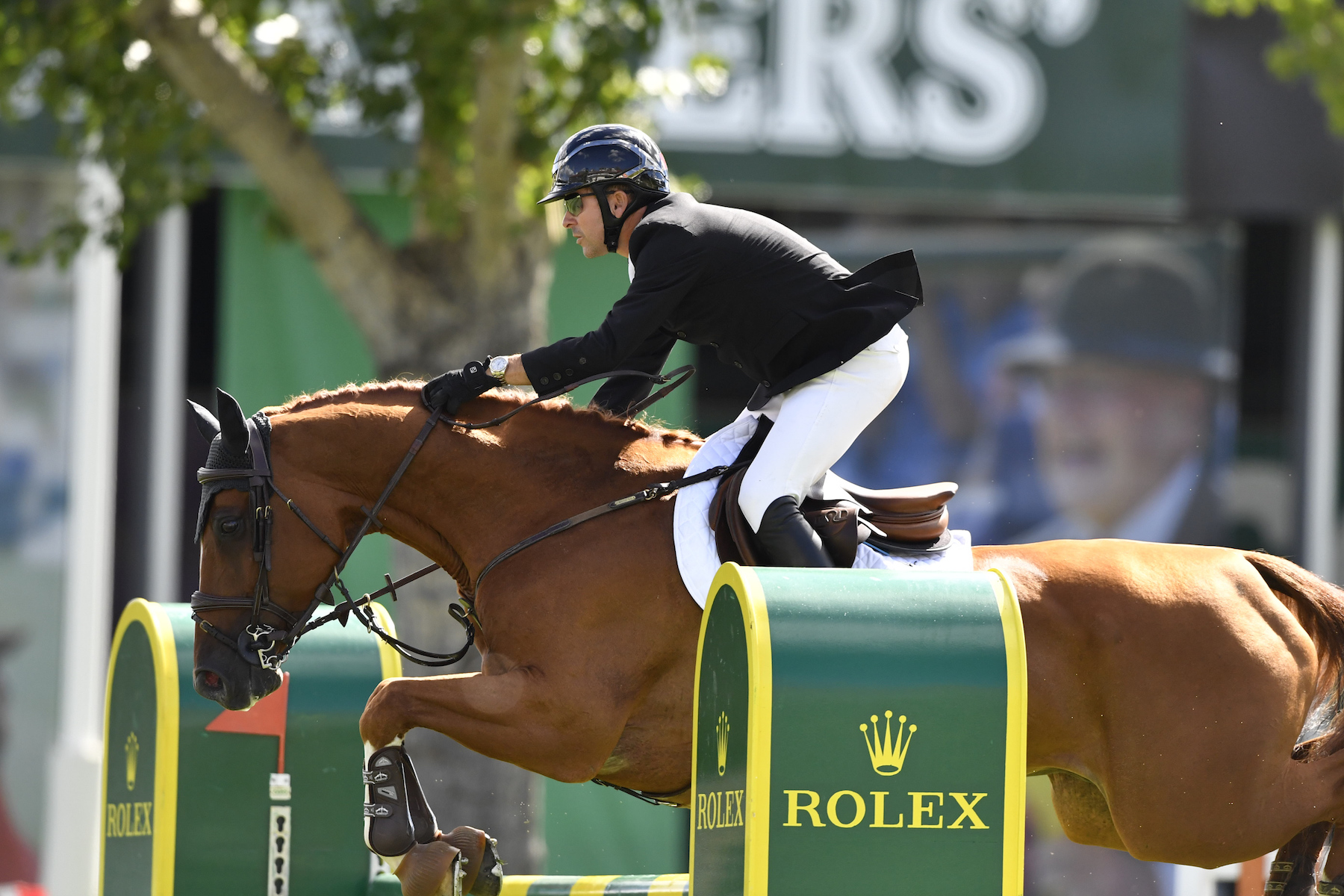 Canada's Eric Lamaze competes on opening day of the Spruce Meadows 'Masters' tournament with Chacco Kid.  Photo by Kit Houghton/Rolex